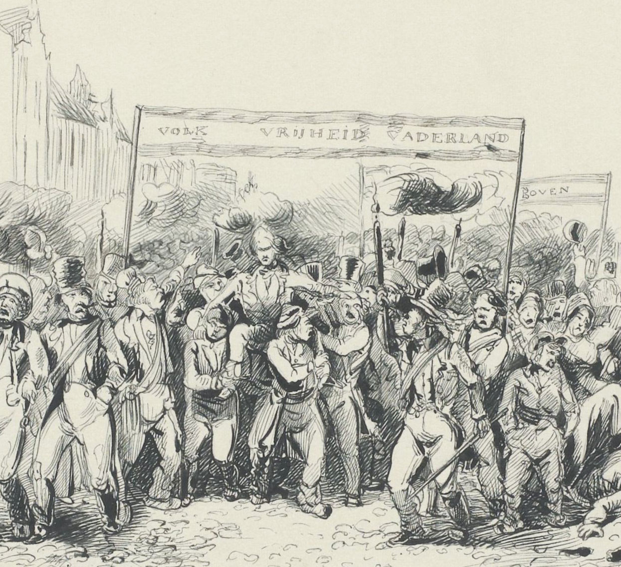 J.C. Wendel, Volksdemonstratie in Den Haag, 1848 (Rijksmuseum)