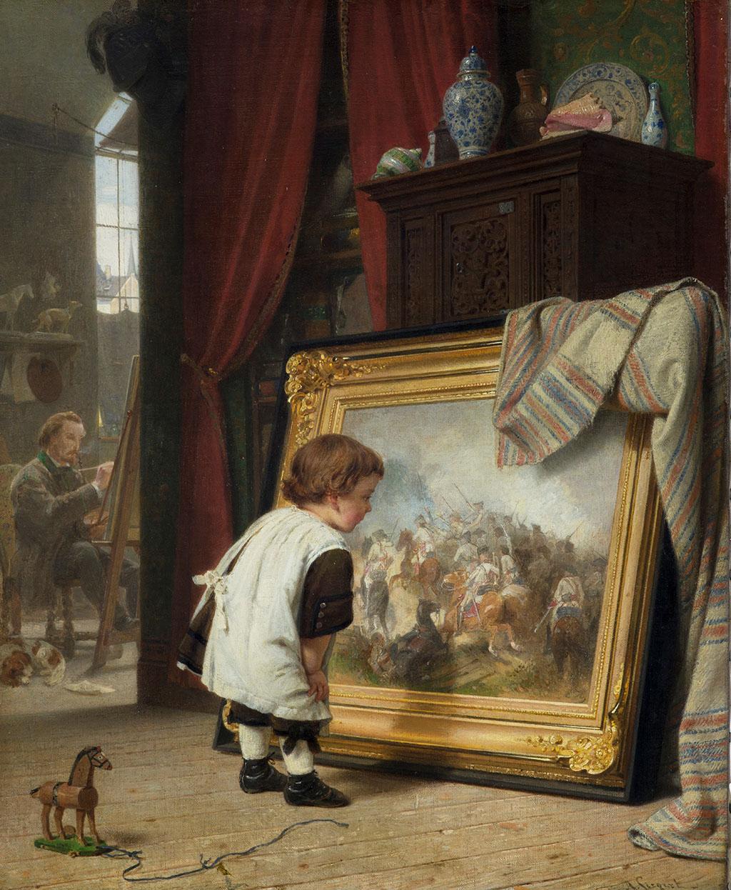 August Friedrich Siegert, Der kleine Kunstfreund, olieverf op doek, 1859 (particulier bezit).