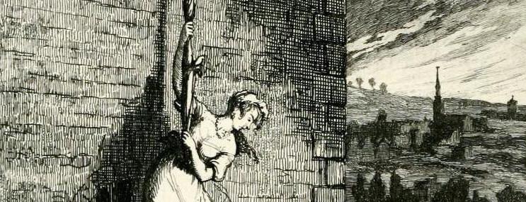 George Cruikshank, De ontsnapping van Bess en Jack, uit: William Ainsworth, Jack Sheppard, 1839-1840.